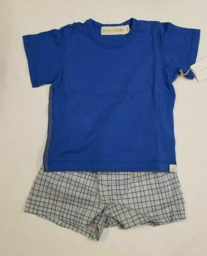Go Gently Baby Kids 2 Piece Set T-shirt Shorts grey gray blue squares checkered