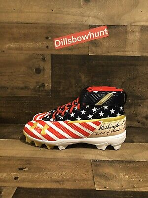 harper red white and blue cleats