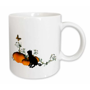 Cat with Pumpkins and Butterfly Coffee Mug Holiday Gift Ceramic Funny 11oz-15oz