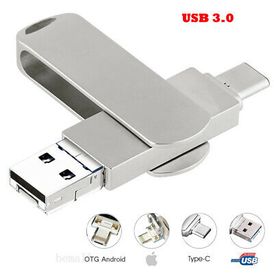 512GB 4 in 1 USB Flash Drives for iPhone//Android Type C Usb Stick OTG Pen Drive