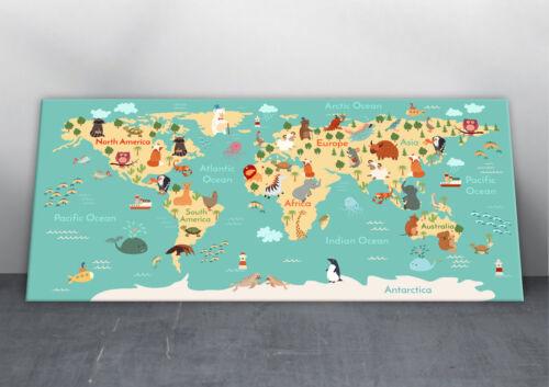 Animals World Map Canvas Print Kids Children/'s Bedroom Nursery Wall Art Picture