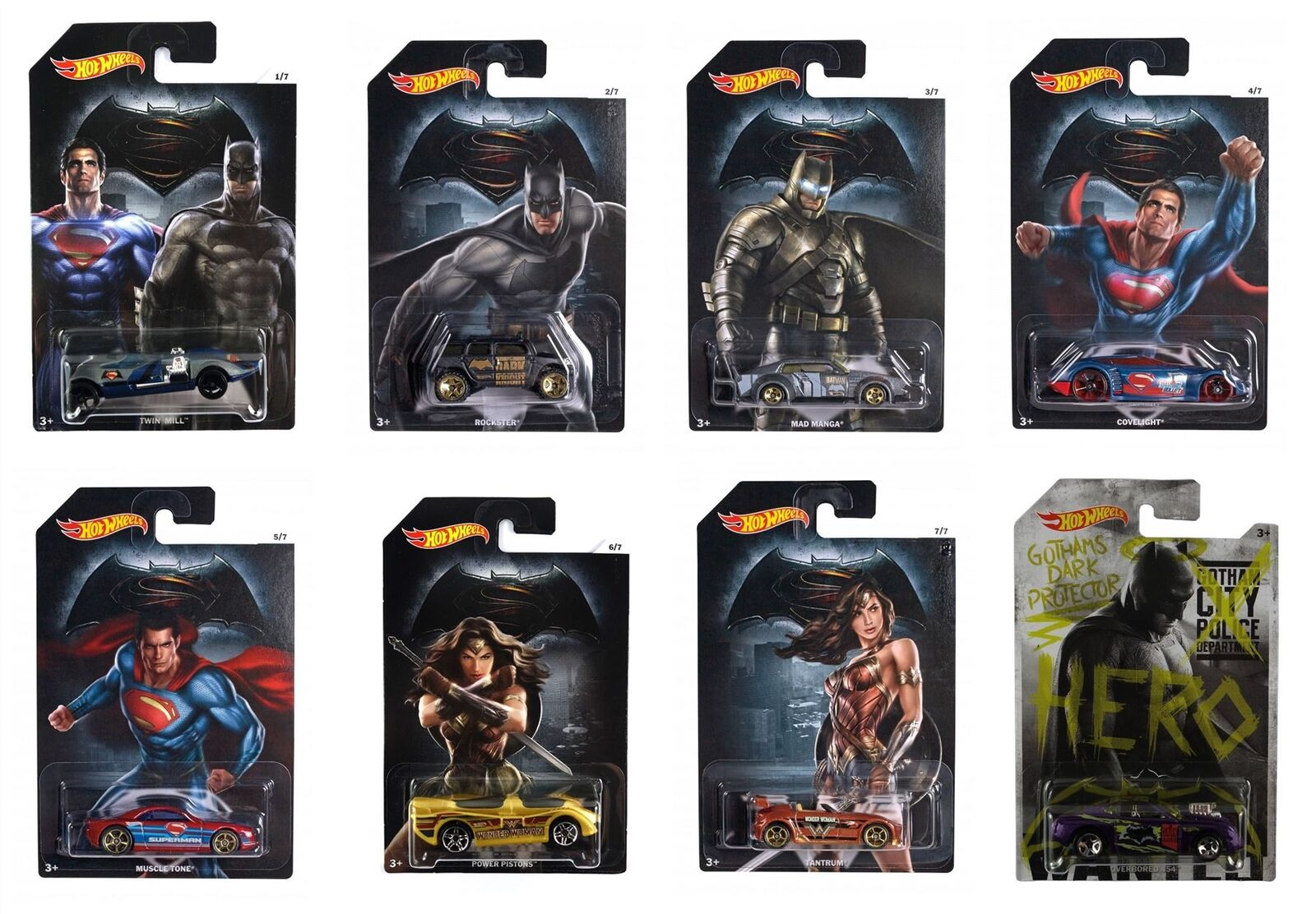 Hot Wheels Batman vs súperman - Completo Conjunto de 8 Coches - DJL47- Modelo