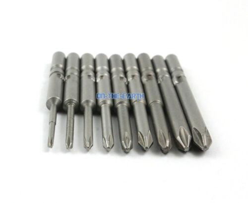 1 Set 9 Pcs Magnetic 5mm Round Shank Phillips Screwdriver Bit S2 Steel 60mm