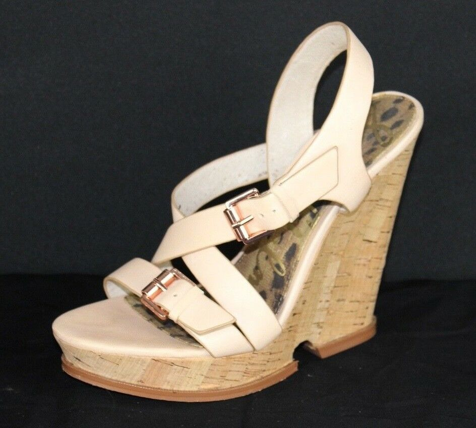 Sam Edelman Josie women's heel sandals leather cork wedge buckle size 7.5 M