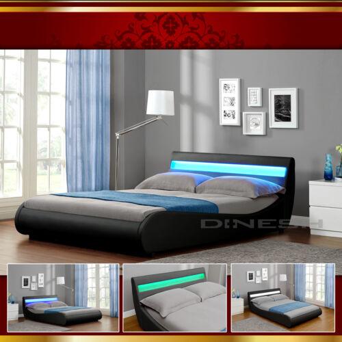 VENEDIG LED Luxus Schwarz Polsterbett Doppelbett Bettgestell Bettrahmen mit Latt