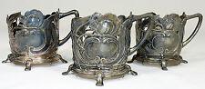 3x WMF - TEEGLASHALTER Glashalter - STRAUßENMARKE Jugendstil um 1900 - RAR