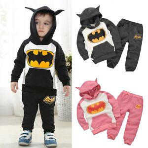 Kids Boys Girls Batman Hoodies Sweatshirt Tops Pants Tracksuit Sweatpants Sets