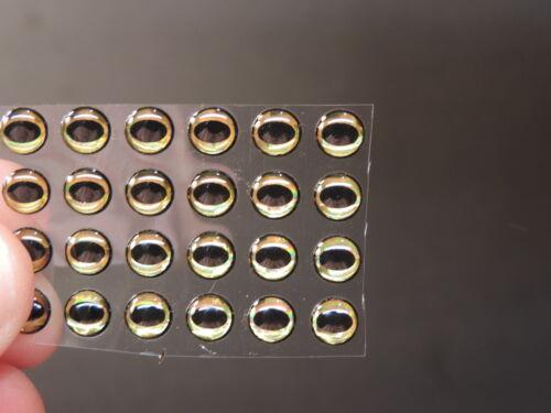"""24 noir cercle or 3D Soft moulé 1//4/"""" 6 mm Adhésif Yeux fly tying lures"""