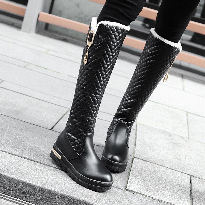 Neu Kunstleder Plateau Damenschuhe Kneehohe Stiefel Winter Stiefel Kunstleder Neu Schneestiefel bf0115
