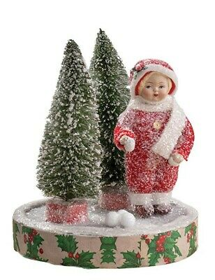 Victorian Trading Co Frostine on Thin Ice Girl Paper Pulp Christmas Figurine
