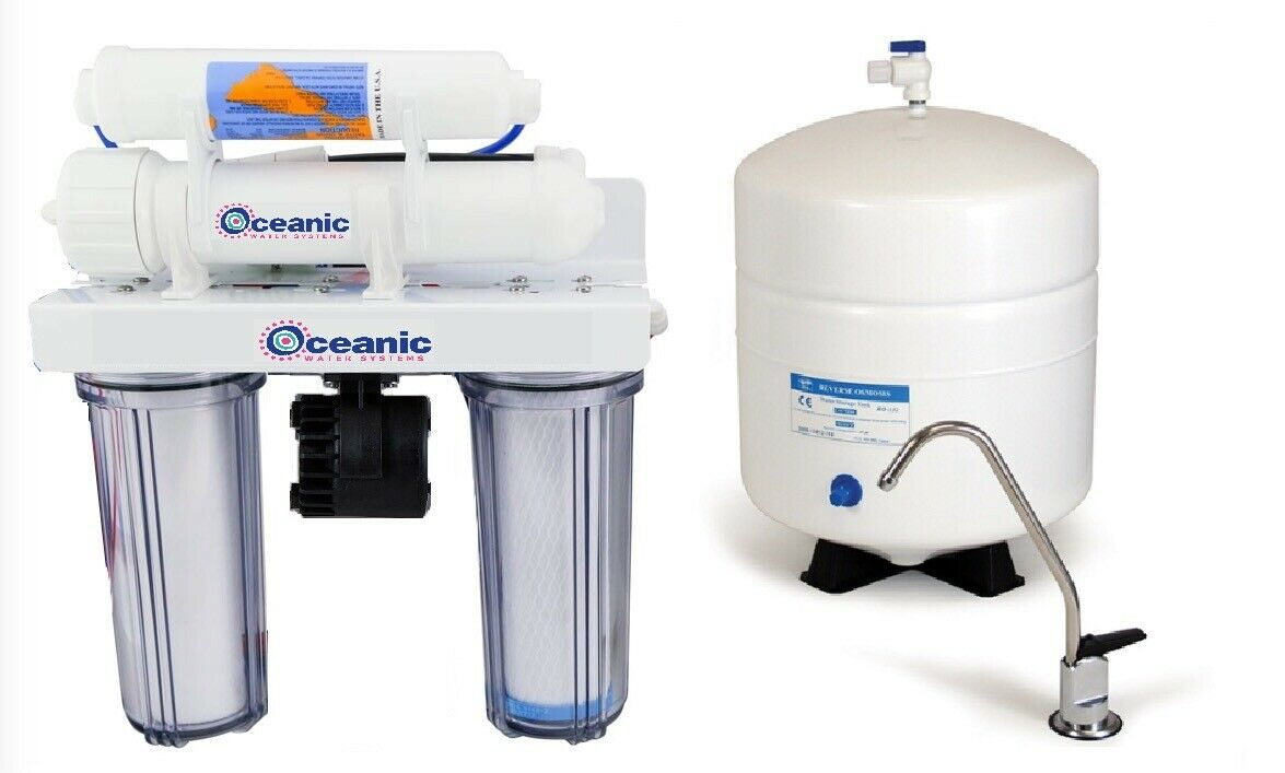 Oceanic Reverse Osmosis Drinking Water Filter System Permeate Pump UV 5 Stage RO