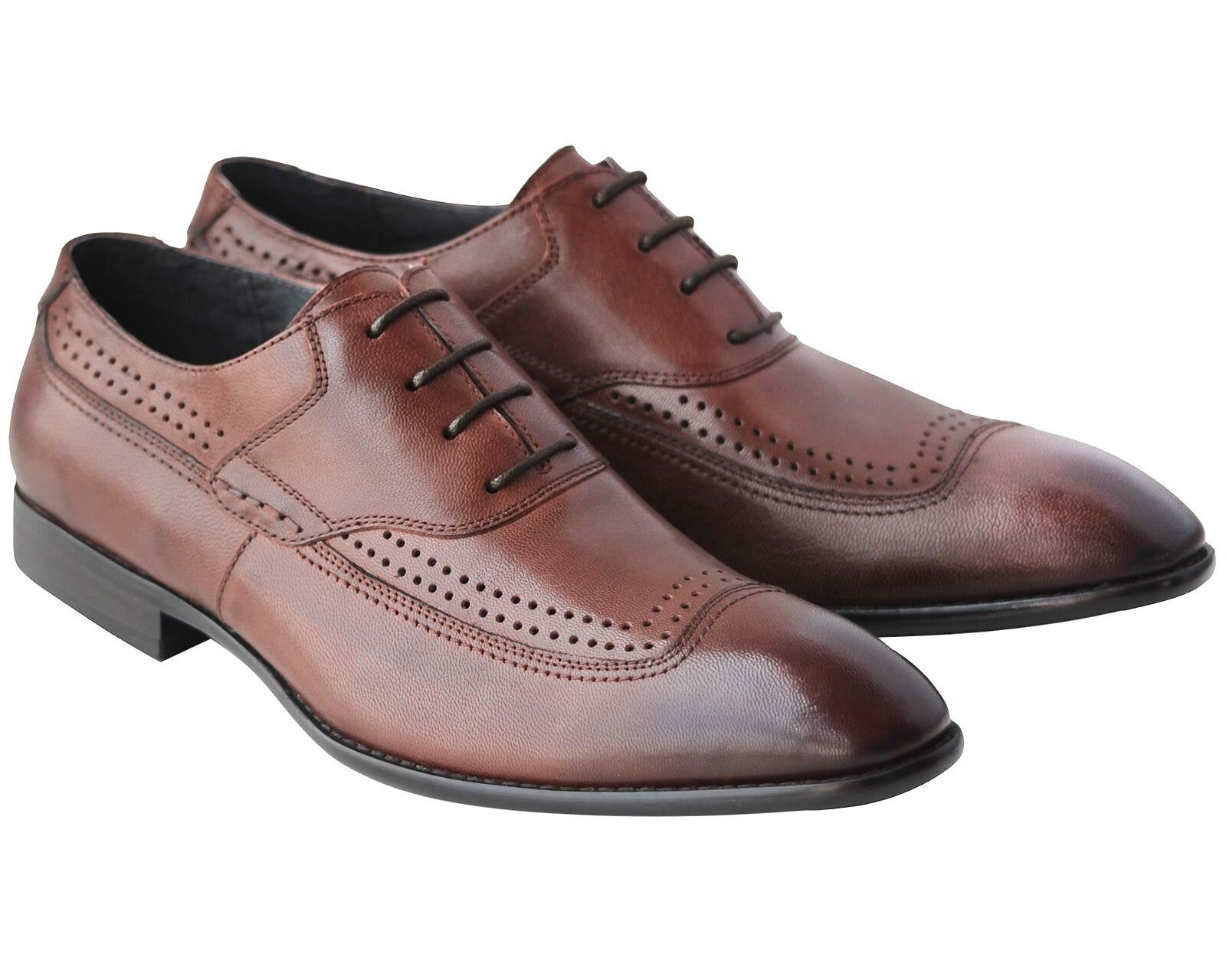 262714fd694 878 MENS BROWN SMART SHOES REAL LEATHER LACE OFFICE WORK UP WEDDING  nvswmn2574-Formal Shoes