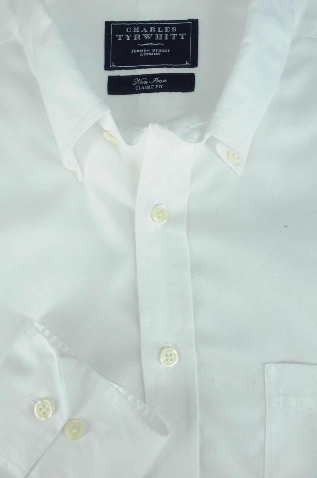 Charles Tyrwhitt Men's Solid White Twill Cotton Casual Shirt L Large