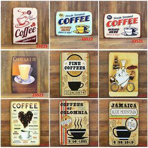20 30cm coffee theme vintage metal sign tin poster tavern for Plaque metal cuisine