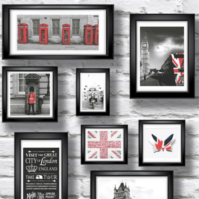 Britain in Frame White Brick Wallpaper 102533