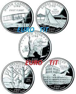 SERIE-DES-5-QUARTERS-DE-DOLLARS-ANNEE-2001-NEUF