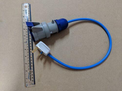 Fly Lead Convertor 13A 16A Blue Socket 3 Pin Caravan Motorhome Free Delivery