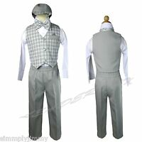 Baby & Boy Gingham Checks Easter Gray Hat Vest Set 5pc Suit Born To 4t