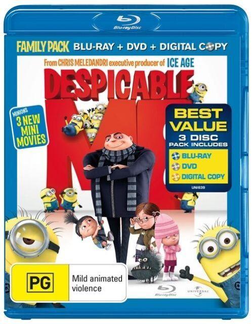 Despicable Me Blu-Ray, 2011, 3-Disc Set - Blu-Ray + DVD + Digital - Universal