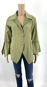 Cynthia-Ashby-Women-s-Jacket-Size-XS-Green-Linen-Blend-Button-Up-Lagenlook-D1