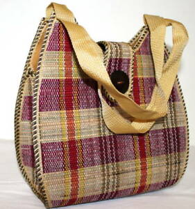 Ladies-Women-Jute-Weave-Handbag-Red-Yellow-Oblong-M