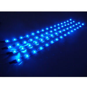 8x-30cm-15-Blue-LED-Car-Trucks-Motor-Grill-Flexible-Waterproof-Light-Strips-New