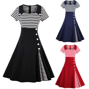 Plus Size Retro 50s Women Rockabilly Pinup Housewife Party Swing Summer Dresses