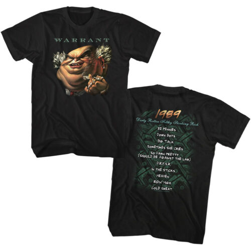 Warrant Dirty Rotten Filthy Stinking Rich Song List Adult T Shirt Rock Music