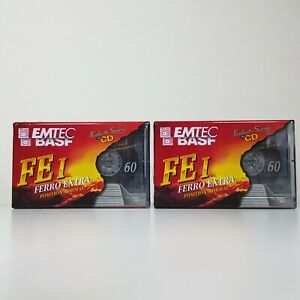 NEW-Blank-Cassette-Tapes-x-2-Emtec-BASF-FE-I-Ferro-Extra-60-BNIB