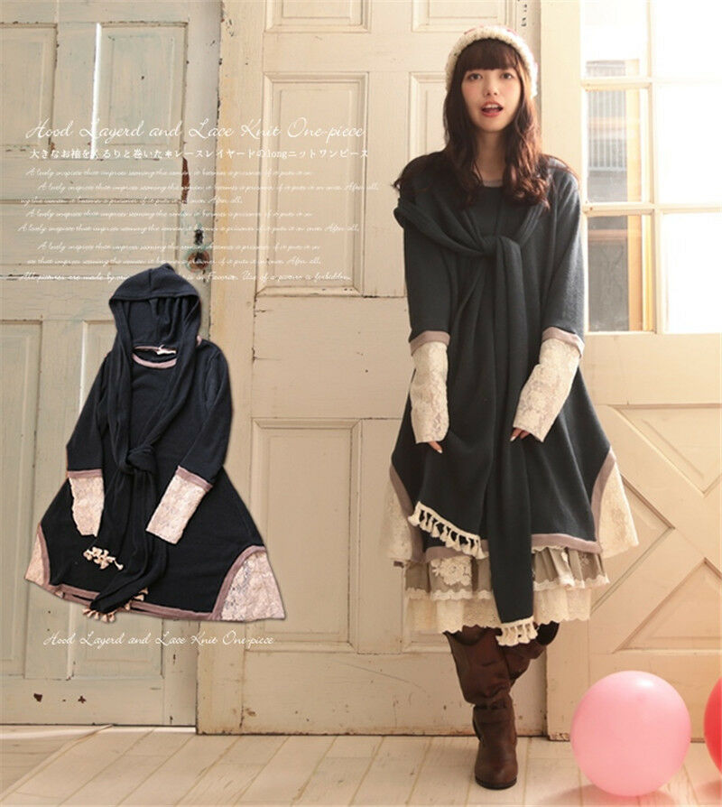 Novel Loose Mori Girl Fall & Winter Hoodie Dress Shirt Japanese Retro Top Coat