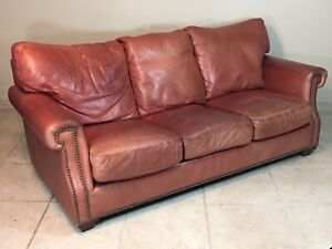 Sensational Details About Legacy Leather Couch Cowboy Rust Color Sofa Chair Seat Studded Nailhead Squirreltailoven Fun Painted Chair Ideas Images Squirreltailovenorg