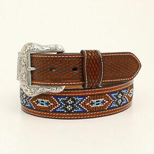 Nocona-Tan-Leather-Mens-Beaded-Inlay-Weave-Belt