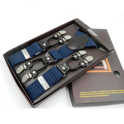 Men Y-Shape Elastic Suspenders Leather Brace Adjustable Clip-on Shirt Belt Strap