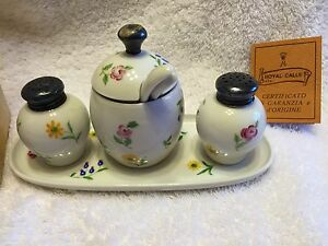 VINTAGE-ROSENTHAL-PORCELAIN-HAND-PAINTED-FLOWERS-4-PIECE-SET