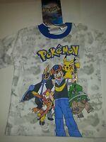 Boys Pokémon Brand White Gray Blue T-shirt Size 4 5/6
