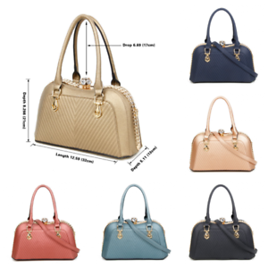 Women s Designer Faux Leather Patent Handbag Diamante Clasp Shoulder ... 18aa0e180eae5