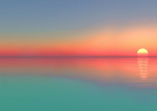 Beautiful Ocean Sunset Poster Size A4 A3 Seaside Nature Poster Gift #8647