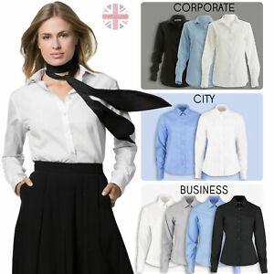 Womens-Ladies-Smart-Long-Sleeve-Shirt-Fitted-Workwear-Uniform-Office-Blouse-New