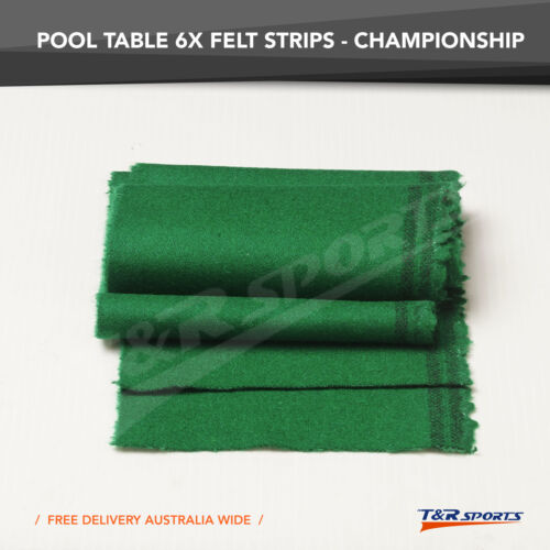 6x Championship Green Double-sided Wool Pool Table Felt Strips for Cushion