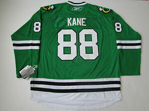 KANE-CHICAGO-BLACKHAWKS-GREEN-ST-PATRICK-039-S-DAY-PREMIER-NHL-REEBOK-JERSEY-SMALL
