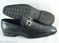 R - Men's SALVATORE FERRAGAMO 'Metrone' Black Leather Loafers Size US 11 - D