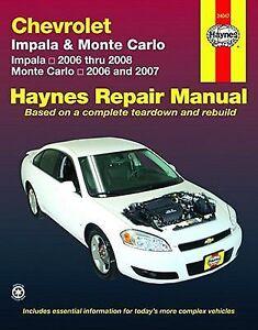 2006 2008 haynes chevrolet impala 2006 2007 monte carlo repair rh ebay com 2015 Chevrolet Monte Carlo 2002 chevy monte carlo repair manual