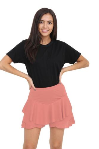 New Women/'s Celebrity Layered Ruffled Frill Skorts High Waisted Mini Skirt SM-XL