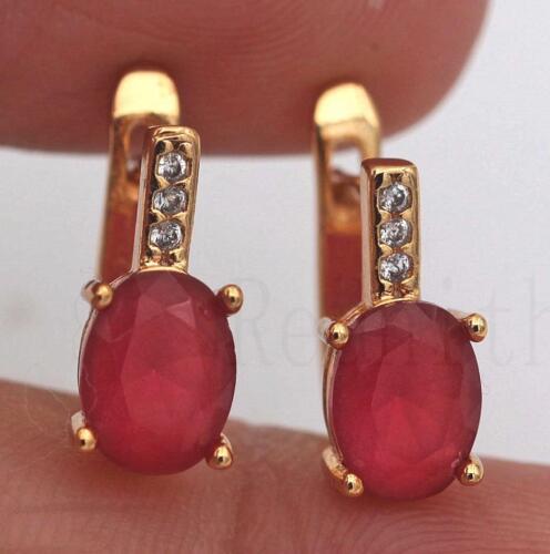 18K Gold Filled EARRINGS RUBY White Topaz Zircon Jade Classique oreille Hoop Stud fille