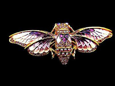 Purple Enamel AB Rhinestone Crystal Moth Cicada Bug Insect Bee Gold Pin  BROOCH