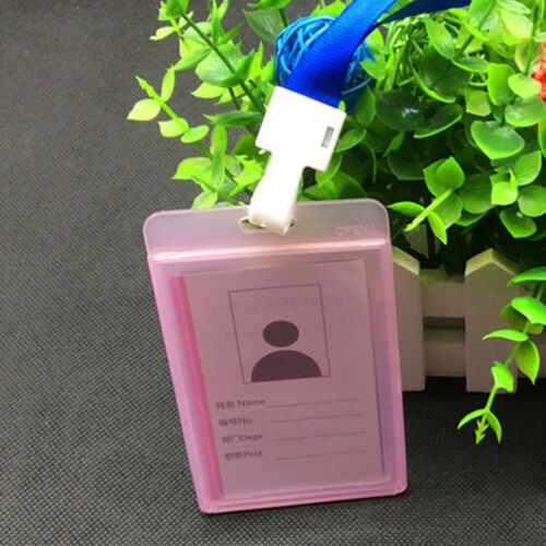 Clear Plastic Vertical ID Card Badge Holder Waterproof Name Tag Card Cover Acces