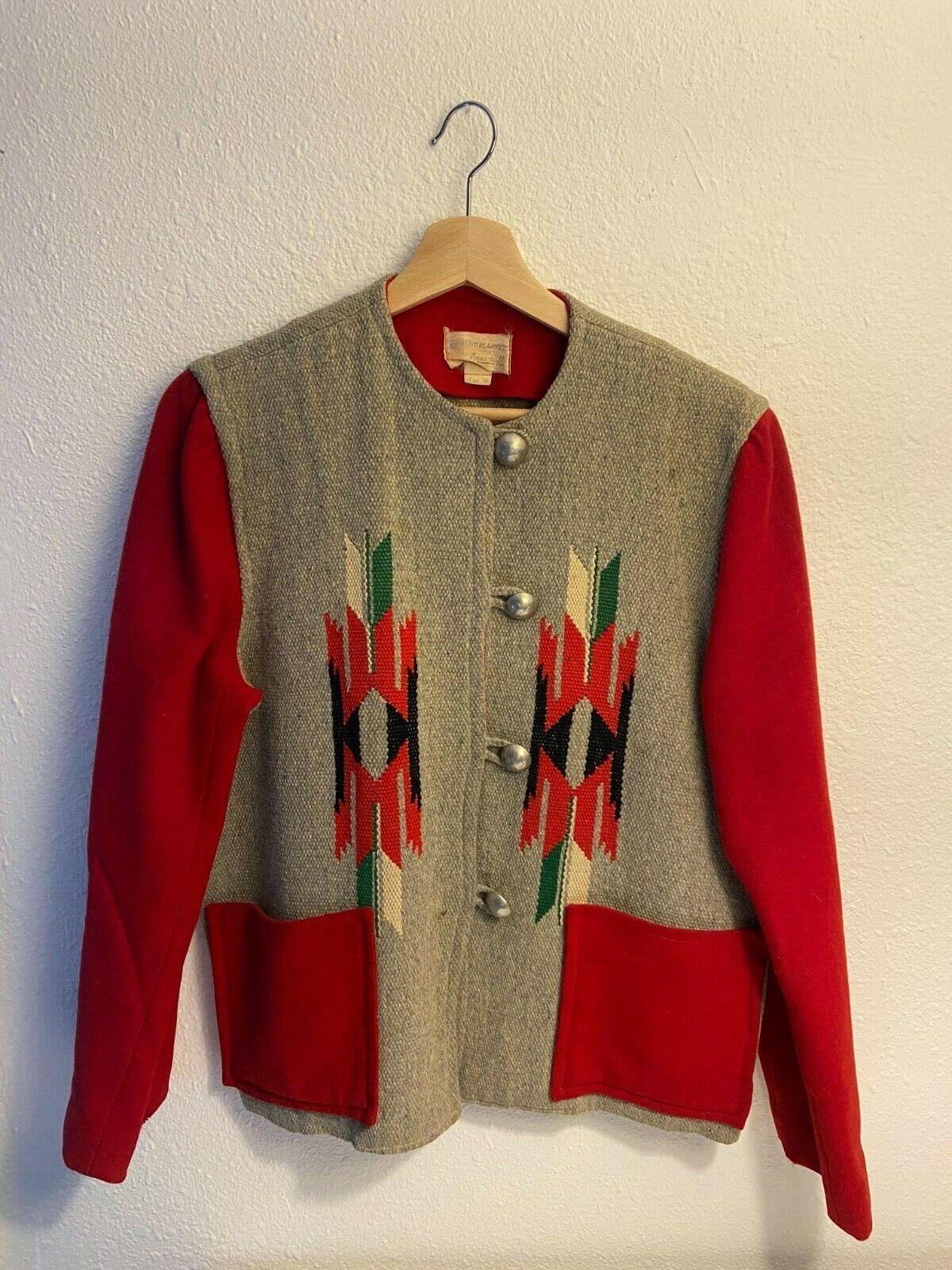 Vintage 40's 50's Chimayo Blanket Navajo Indian J… - image 1