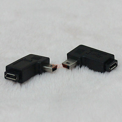PAIR 90 degree right + left angle mini USB B male to micro B female connector