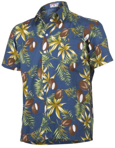 Tropical ZAYN Coconut KOKOSNUSS Palmblatt Shirt HAWAIIHEMD Jeansblau Rockabilly