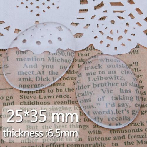 50pcs 25 35 Mm Oval plano posterior Transparente Cristal Vidrio claro de cabujón de Domo c4251